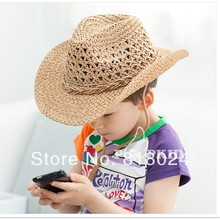 10pcs Korean Style  Baby Boys Big Brim Summer Straw Hats Children Straw Cowboy Hats Kids Sun Hats Sun Visor Drop Shipping