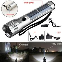 Emergency Light Portable Super Bright Solar Powered Rechargeable LED Flashlight Camping Torch Outdoor Sports Hiking Solar Panel(China)
