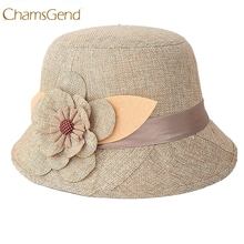 Chamsgend Newly Design 2015 Hot Sales Cheap Nice New Fashion Women Flax Flower Hat Bowler Billycock Cap Drop Shipping