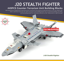 Modern Military world war Counter Strike Special air Force J20 Stealth fighter plane building block model brick toy for children