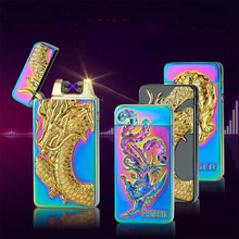 Newest usb charging electric double arc plasma lighter eletronic windproof dragon lighters for smoker cigarettes cigar gifts(China)