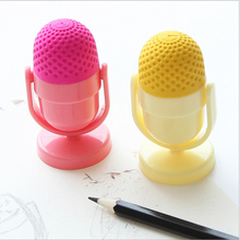 Kawaii mini cute rubber eraser Creative Microphone With School Supplies Sharpener For kids Gift(China)