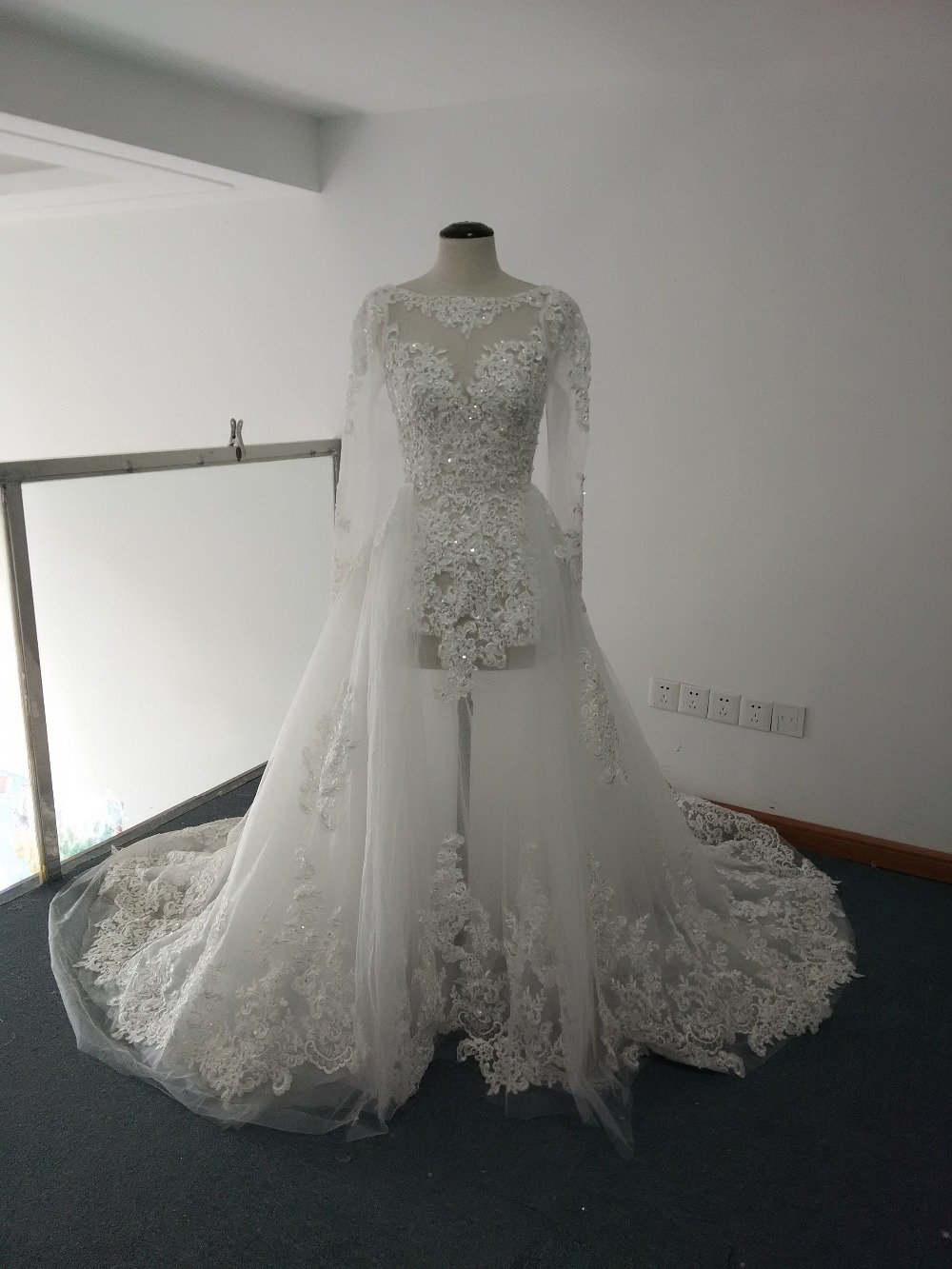 Real Luxury line See Detachable Skirt Wedding Dresses Lace Appliqued Long Sleeve Bridal Gowns
