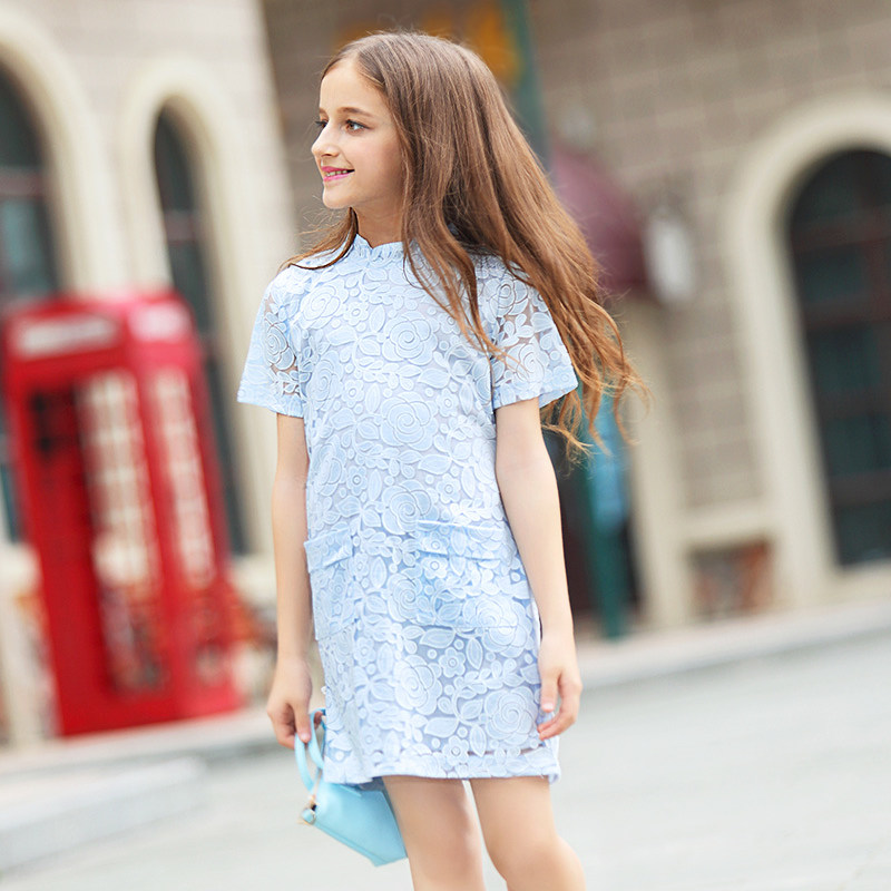 2016 Summer Cotton Lace Crochet Dress Elegant Baby Teen Girls Frock Design Dresses for age 5 6 7 8 9 10 11 12 13 14T Years Old<br>