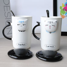 TECHOME 2017 Hot Sale Ceramic Coffee Breakfast Milk Water Mug Porcelain cat Cup Handmade Painting Gift For Kids Health Material