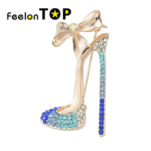 Jewelry Shining Rose Gold Color Silver Color with Colorful Rhinestone High-heeled Shoes Brooch Pins For Women Accessories