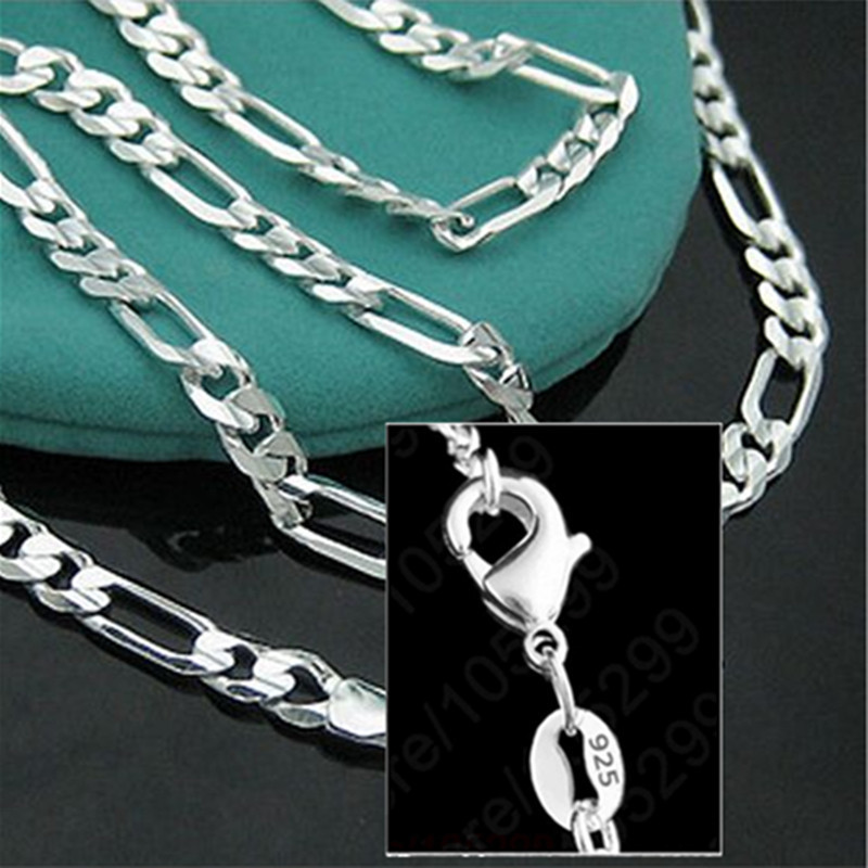 16-30inches 10PCS Hot Sale 925 Sterling Silver Figaro Necklace Chain Unisex Jewelry Lobster Clasps 2mm