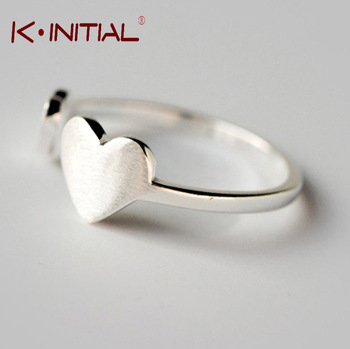 Kinitial 1Pcs Cute Hot Sale 925 Silver Double Heart Ring Jewelry woman Fashion Wedding Charm Adjustable Heart Rings Bijoux