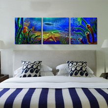 Deep Ocean Landscape Modern Sea World Painting Canvas Art Printing  Home Wall Decor Picture HD Print Painting  3 Panels Artwork