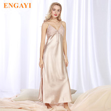 ENGAYI Brand Long Women Summer Night Dress Plus Size Sexy Lace Nightgown Silk Satin Nightdress Night Gown Nightwear CQ311(China)