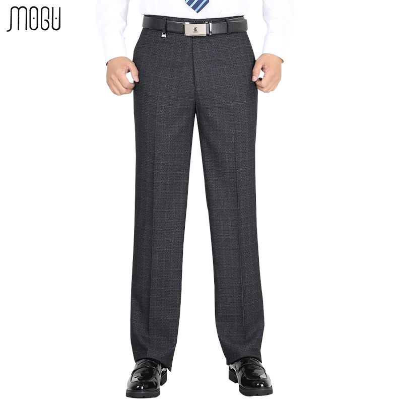 MOGU Men's Thick Suit Pants 2017 Men's Trousers Business Dress Autumn And Winter  Straight High Wasit Pants Large Size 29-50