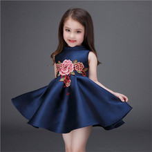Embroidered Flower Girls Dress Cotton Princess Navy Blue Casual Aline dress for Kids Clothes vestidos infantis age 3-9 years old