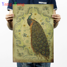 Vintage kraft paper comic Hand drawn Peacock Movie Poster Painting Brown paper drawing core hanging Picture home art decoration