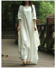 2016 New spring Summer Style Women Cotton Linen loose long Dress slash neck elegant China Style juniors maxi dress linen dress(China)