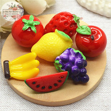 banana watermelon fruit 50PCS 3D Resin Flatback Cabochon Miniature food Art Supply Decoration Charm Craft DIY free shipping
