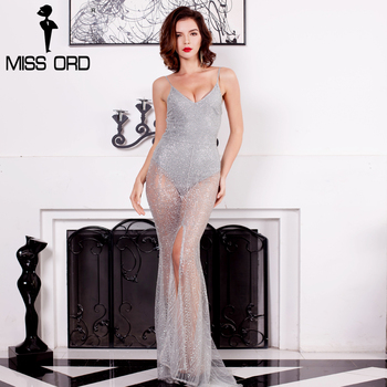 Missord 2017 sexy glitter v-cuello fuera del hombro dividir maxi dress ft8141