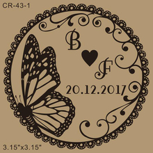 Free shipping Wedding stamp 3.15x3.15 inch custom butterfly rubber stamp butterfly wreath art wedding stamp