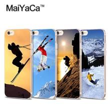 Skiing Special White snow mountains Transparent TPU Soft Cell Phone Protective Cover For iPhone 4s 5s 6s 7 7plus case