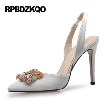 Shoes 2017 Rhinestone Stiletto Satin Silver Jewel High Heels Women Pointed Toe 12 44 Pink Casual Pumps 33 Slingback 8cm 3 Inch