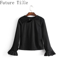 Future Time Hollow Out Shirt Black Women Butterfly Sleeve Tops Female Blouses Spring Women Long Sleeve Elegant Shirts SC944(China)