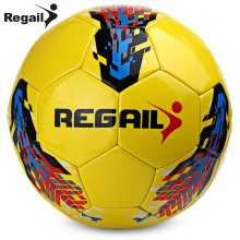 Yellow Printed  Soccer Ball Seamless Football Ball Size 5 PU Material Official Size Match Football Regail