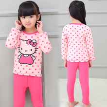 Cartoon Print Kids Girl's Winter Pajamas Set with Fleece 2017 Children Thermal Underwear Sets Girls Pyjamas Winter Kids Clothes