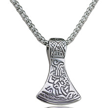 Trendy Stainless steel Legendary Viking Mammen Axe Amulet Pendant Necklace For Men Style Nordic Talisman Jewelry