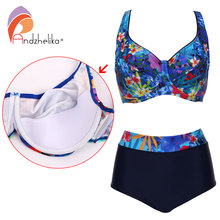 Andzhelika Plus Size Swimwear Sexy High Waist Bikinis Women Deep Soft Cup Swimsuit Floral Print Wide Halter Bathing Suit