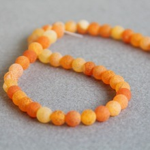 8mm Fashion Orange Natural Grind Arenaceous Onyx Beads Round Stone DIY Accessory Parts 15inch Jewelry Making Design Wholesale(China)