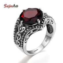 Szjinao Vintage Indian Solitaire Red Crystal Rings For Women Soild 925 Sterling Silver Handmade Antique Bohemia Jewelry Art Deco