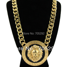 Celebrity Style Lion Head Pendants with Chunky Link Chain Necklace Gold Tone with Black Enamel