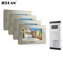 "JERUAN Brand Apartment Intercom System 4 Monitor 7"" Color Video Door Phone intercom System for 4 house In Stock FREE SHIPPING(China)"