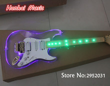Free Shipping-Electric Guitar,Acrylic Transparent Body,Maple Fretboard,led Lights on Body,Floyd Rose,can be Customized(China)