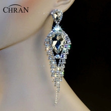 "Chran New Luxury Bridal Gold Color Rhinestone Crystal Earings Wedding Party Dangle 5.5"" Chandelier Drop Earrings Jewelry LE803"
