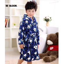 Gifts Flannel Children's Bathrobes Kids Winter Spring Home Wear One Piece Pajamas Boy Girl peignoir enfant Gown Robes(China)