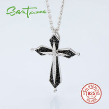 Silver Cross Pendant Fit for Necklace for Woman Black Spinel CZ Diamond Cross Pendant 925 Sterling Silver Party Fashion Jewelry