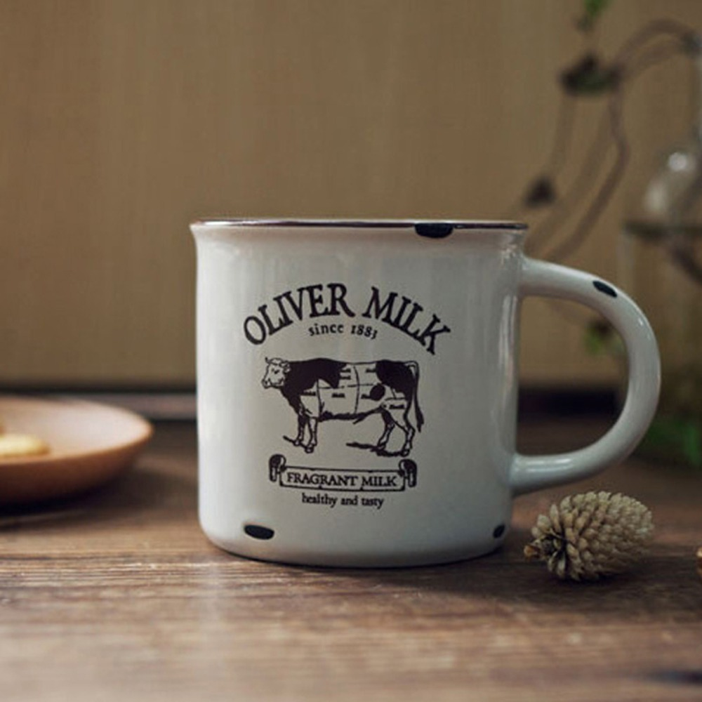 New KEYAMA Do the old ceramic imitation enamel breakfast milk mugs Office coffee tea cups Cows Hedgehog Navigation patterns(China)