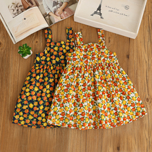 Children Baby Orange Print Clothes Lolita Girls Lace Sleeveless Fruit Dress Summer Wholesale Ruched Princess Clothing 6pcs/LOT