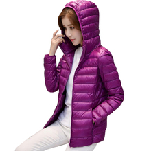 2017 Spring Warm Women Short Hooded Thin Down Jacket Slim Korean White Duck Down Zipper Slim Coat M-4XL YSB01