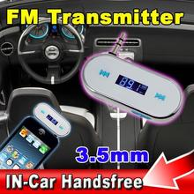 Wireless 3.5mm Car Handsfree FM Modulator Transmitter LCD Music Player For Apple iPhone 5 5S 6 Plus For Samsung Galaxy S3 i9300