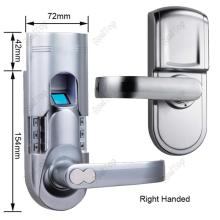 Left Handed Biometric Keypad Door Lock Fingerprint Locks with Single Latch Golden Color/silver color without motor more stable(China)