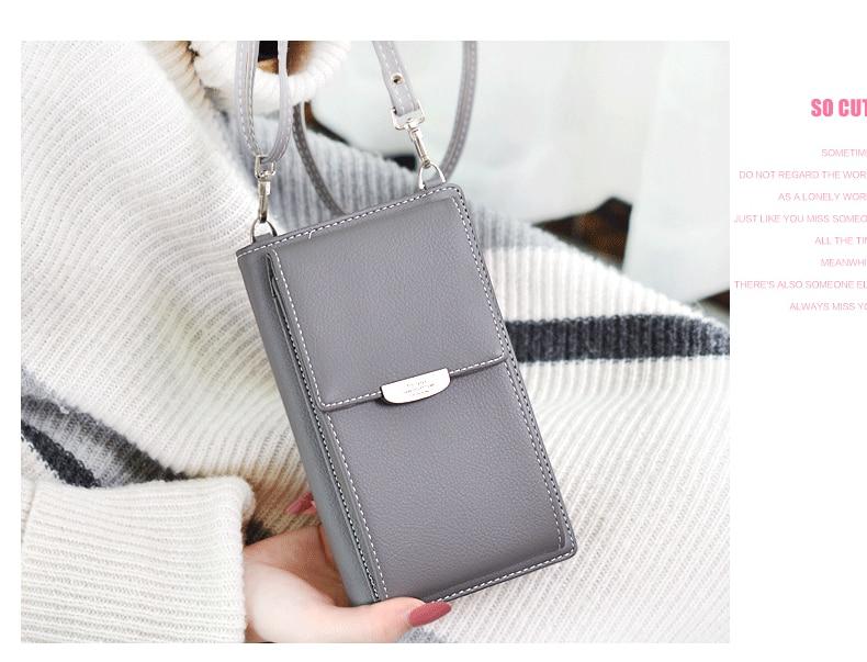 19 New Women Casual Wallet Brand Cell Phone Wallet Big Card Holders Wallet Handbag Purse Clutch Messenger Shoulder Straps Bag 21
