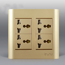 Big Panel Luxury Gold Wall Electrical Socket, Universal Power Outlet Modular Combination Customized 115mm*115mm()