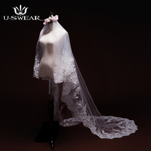 2017 Bridal Veils Wedding Accessories high Quality 3 Meter Ivory Cathedral Wedding Veil retro designLace Edge Bridal Veils
