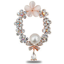 New Year Opal Flower Brooches For Women Rhinestone Circle Brooch Pin Winter Scarf Buckle Fashion Jewelry Lead Free Christmas