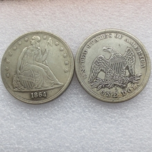 freeshipping 1864-p SEATED LIBERTY SILVER DOLLARS High Quality