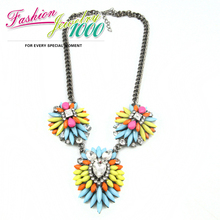 2013 New Summer Vintage Multi Color Resin Stone Flower Pendant Necklace Designer Jewelry Women Free Shipping(China)