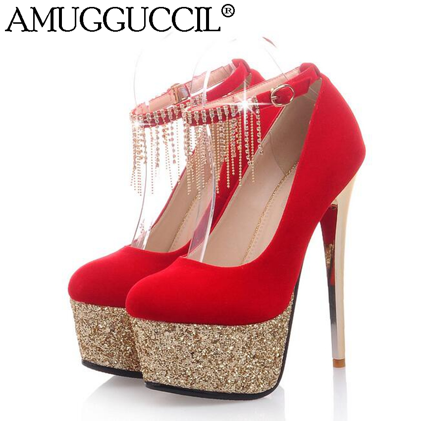 2018 New Red Black Fashion Sexy Buckle Glitter Rhinestone Wedding Party 15CM High Heels Platform Lady Shoes Women Pumps D659<br>