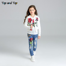 Top and Top Girls Clothing Sets Autumn Long Sleeve T Shirt Jeans Coats 3Pcs Rose Floral Embroidered Kids Clothing Sets