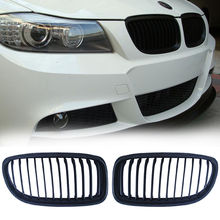 One Pair Black Car Grille Replacement Kidney Grille Grill Fit For 09-11 BMW E90 LCI 3 Series Wagon Sedan 4 Door 4D